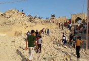 Iraqis inspect the wreckage of the grave of the Nebi Yunus, or prophet Jonah, in Mosul, northern Iraq, 24 July 2014. Allegedly, members of jihadist ISIS have demolished the historic grave of the Nebi Yunus, the biblical prohet Jonah in the east of Mosul