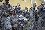 US soldiers preparing for military drills in the Ukrainian city of Lviv