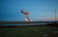 The Antares rocket with the American cargo spacecraft Cygnus exploded during blastoff from NASA launch facility on the Wallops Island near the Virginia coast