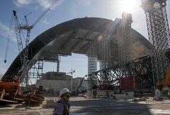 Construction of a new protective shelter which will be mounted over the remains of the Chernobyl nuclear power plant in Ukraine
