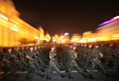 Ukrainian soldiers march in the Independence Square in downtown Kiev during a rehearsal of the military parade