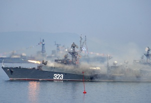 Pacific Fleet's small anti-submarine ship MPK-64 Metel fires a missile during Navy Day parade in Vladivostok
