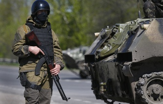 Soldier of the Ukrainian army near Sloviansk