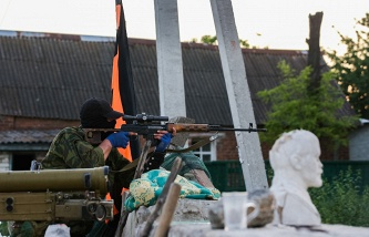 Militia checkpoint in Donetsk region