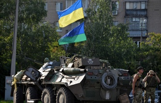 Ukrainian army soldiers in Sloviansk