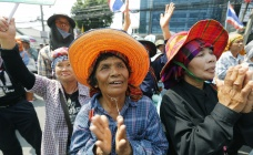 Thai rice farmers during protests in Bangkok