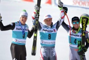 Christof Innerhofer (L) of Italy, Austrian Matthias Mayer (C) and Ted Ligety of the US (R)