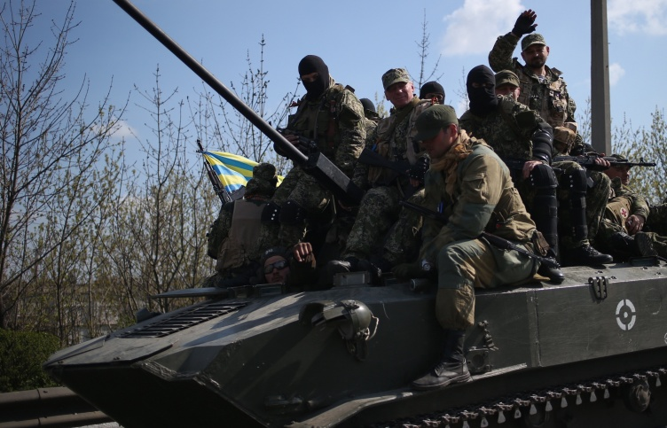 Activists on an APC in eastern Ukraine