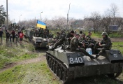 Ukrainian armoured personnel carriers blocked in the village of Pchelkino