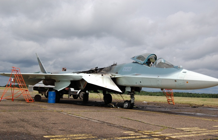 Fifth-generation fighter T-50 caught fire on the airfield in Zhukovsky
